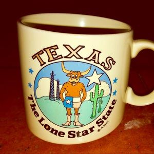 """Vintage """"Texas -The Lonestar State"""" 8oz coffee cup"""